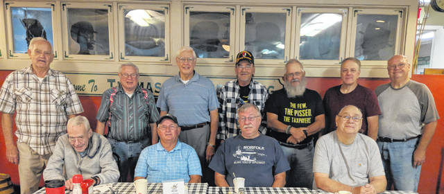 Veterans who gather include, back from left: Bob Bailey, Ned Goff, Allen Stojkovic, Dale Butts, Dan Goodman, Mike Schurze and Ron Christman. In front from left: Walter Hurd, Bob Bails, Paul Kort and Bob Wolford.