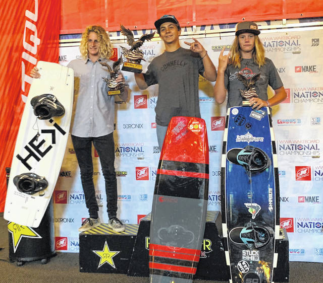 Carson McDaniel (right) placed third in the National Wake Board Championships in Seattle, Wash.