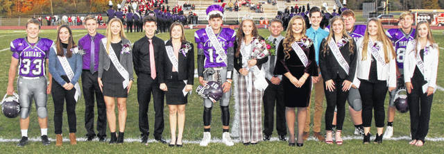 Mount Gilead High School's homecoming was held Oct. 18. Shown are: freshmen Garrett George and Madilyn Elson, Juniors Brett Shipman and Olivia Millisor, seniors Liam Dennis and Alexis McCoy, King Joel Butterman and Queen Zoie Barron, seniors Dallen Maynard and Kelsey Kennon, seniors Josh Wallis and McKenzie Bump, seniors Alex Anton and Lacie Baldwin, sophomores Paul Butterman and Taylor Hashman.