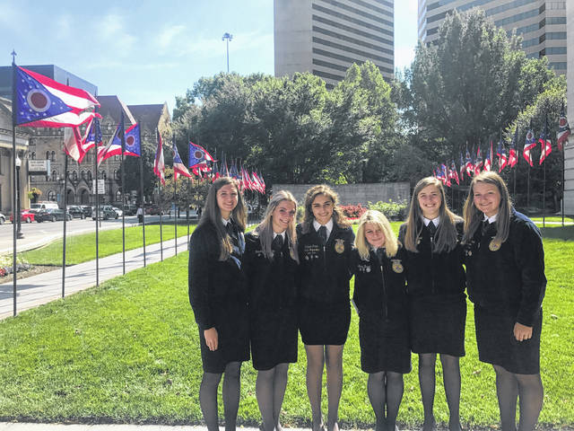 These Cardington FFA members attended the recent Ohio Legislative Leadership Conference. They are, from left: Beth Hardwick, Brooke Clapham, Isabelle Crum; Lexy Brook Hobbs, Emma Burchett and Tess Ruehrmund.
