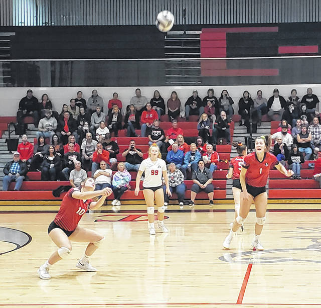 Cardington's Kayleigh Ufferman returns an Elgin hit in her team's 3-0 win over the visiting Comets on Saturday.