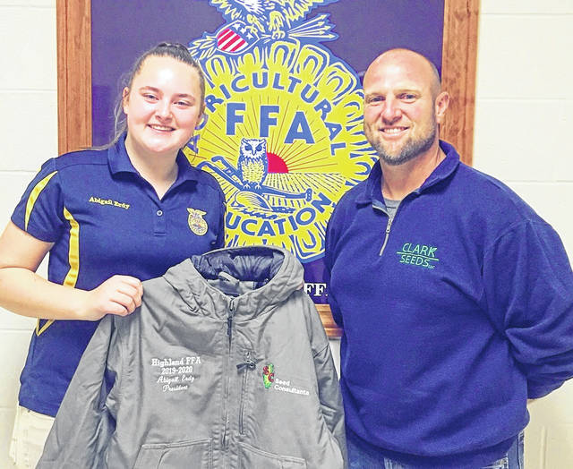 Before our annual Leadership Night meeting, Highland FFA Officers were surprised by Nate and Jessie Clark with personalized Seed Consultant jackets. We really appreciate their donation and love the personalized embroidery on the jackets. We would like to send out a public thank you to the Clark family for their generous donation. These jackets are a wonderful gift that our officers will always cherish. — Abigail Erdy, Highland FFA President