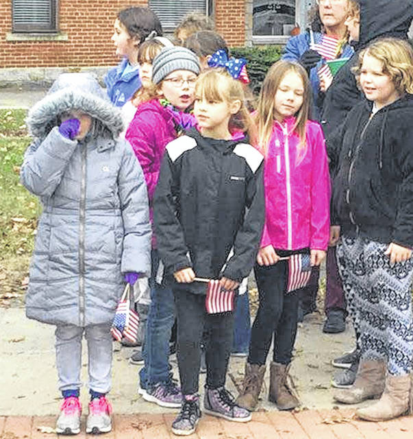 Park Avenue Elementary brought 90 fourth-grade students to Monday's Veterans Day program on the square in downtown Mount Gilead. Teachers are Carol Carnes, Melinda Martin, Julie Rhea and Jim Ullom.
