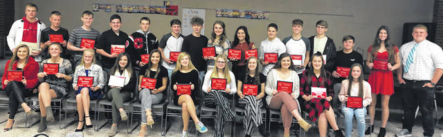 Pictured above are the winners of Cardington's fall sports awards. In the back row are (l-r): Trey Brininger, Racine Hallabrin, Mason White, Bryce Moodispaugh, Michael Rose, Liam Warren, Danny Vaught, Grace Struck, Kyleigh Bonnette, Ashton Plowman, Cayman Spires, Nate Hickman, Joe Denney, Audrey Brininger and Nick McAvoy. Front row: Kiersen George, Marlo Young, Loey Hallabrin, Jade DeLawder, Emily Benson, Reagan Spires, Cadie Long, Liz Long, Ashlee Tharp, Hannah Wickline and Taylor Thompson.
