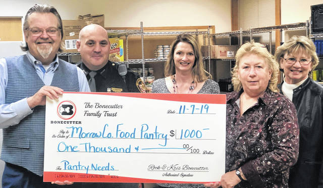 The Morrow County Food Pantry recently received a $1,000 donation from the Bonecutter Family as part of the Bonecutter's monthly Charitable Giving Campaign. Rockwell and Krista Bonecutter presented the check to food pantry coordinators Teresa Shipman, Brenda Harden and board member John Hinton.