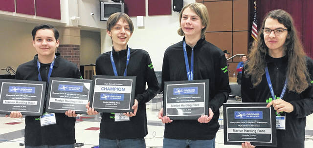 Selover Public Library's High Five Drone Racing Team members Hunter Berthold, Matthew Hebauf, Wesley Bush, and Tristen Ware took first place in five of six categories at the Drones in School competition Nov. 13.