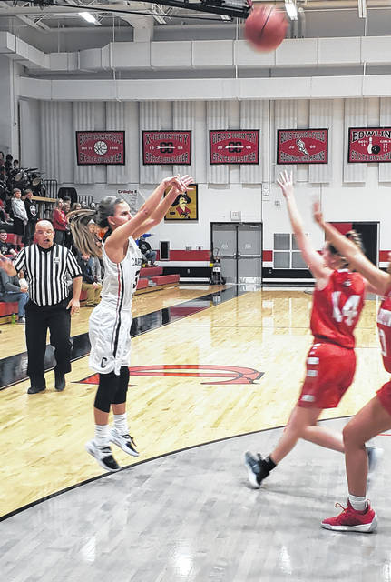 Cardington's Karsyn Edwards puts up a shot from outside in her team's win over Fredericktown Wednesday.