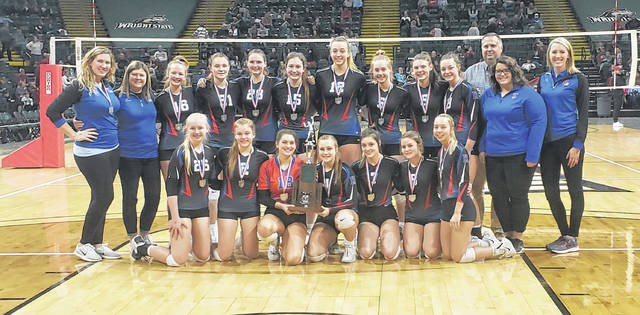 The Highland volleyball team placed second in Ohio for Division II teams on Saturday after falling in a hard-fought four-set match with Middletown Bishop Fenwick.