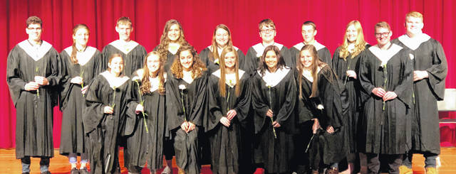 Members of the Cardington-Lincoln High School National Honor Society inducted Nov. 15 are back row, from left: Garrett Thompson, Marlo Young, Mason White, Ashlee Tharp, Tess Ruehrmund, Noah Struck, Michael Rose, Camrie Myers, Luke Goers and Nick McAvoy	Front row: Alexis Howard, Elizabeth Long, Isabelle Crum, Maddie Brehm, Kyleigh Bonnette and Sydney Spires.