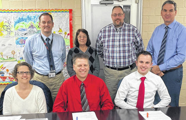 Pictured is the newly organized Cardington-Lincoln Board of Education. Seated from left: new board members, l-r: Sarah Struck, Matt Clinger and Quinn Maceyko. Standing: Superintendent Brian Petrie, board president Pat Clark, board vice president Matt Meyers and Jon Mason, treasurer.