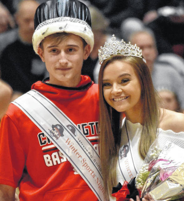 The 2020 Cardington-Lincoln High School Winter Sports Night King and Queen, Emily Benson and Garrett Linkous.
