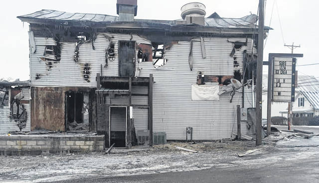 A fire destroyed a former restaurant on State Route 309 in Iberia Sunday.