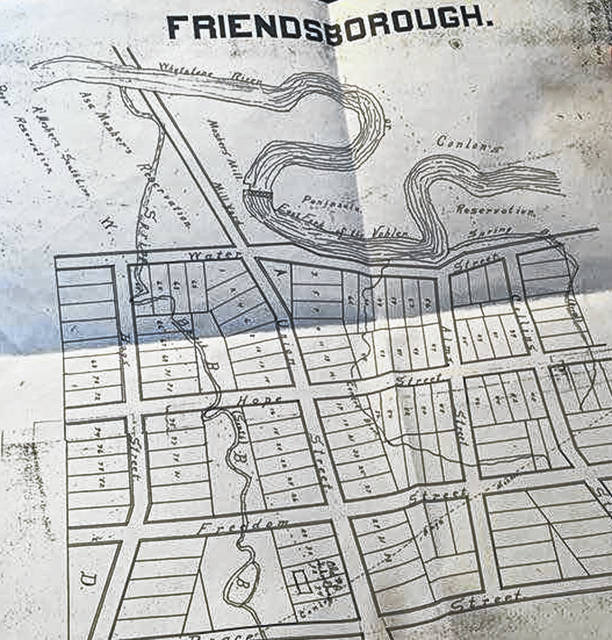 The plat map shows Friendsborough. It was established in 1822.