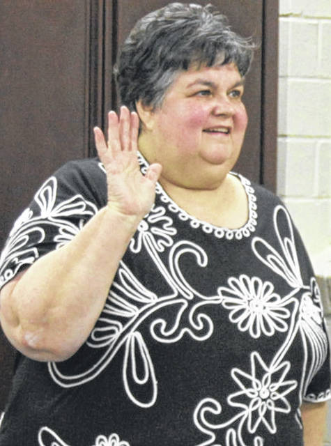 Marilyn Davis taking the oath of office 8 years ago when she joined the Cardington-Lincoln Board of Education.