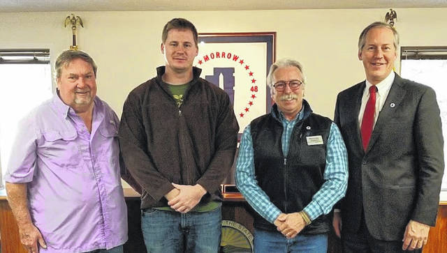 Morrow County Commissioners approved a resolution in support of the Morrow County Soil and Water Conservation District becoming a certified local sponsor for Ohio Department of Agriculture Farmland Preservation program. Commissioners Burgess Castle, Warren Davis and Tom Whiston are shown with Matt Stooksbury, (second from left) who is the MCSWCD Program Administrator, and will administer the Farmland Preservation Program for the county.