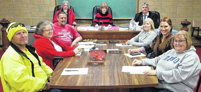 Edison Village Council members from left: Jeremie West, Ruth Davis, Chris Kneipp, Dawn Salisbury, Erica Walsh and Sandy Ackerman. Seated in back: Fiscal officer Bruce Seaburn, Mayor Patti Feustal and Village Attorney Rob Ratliff.