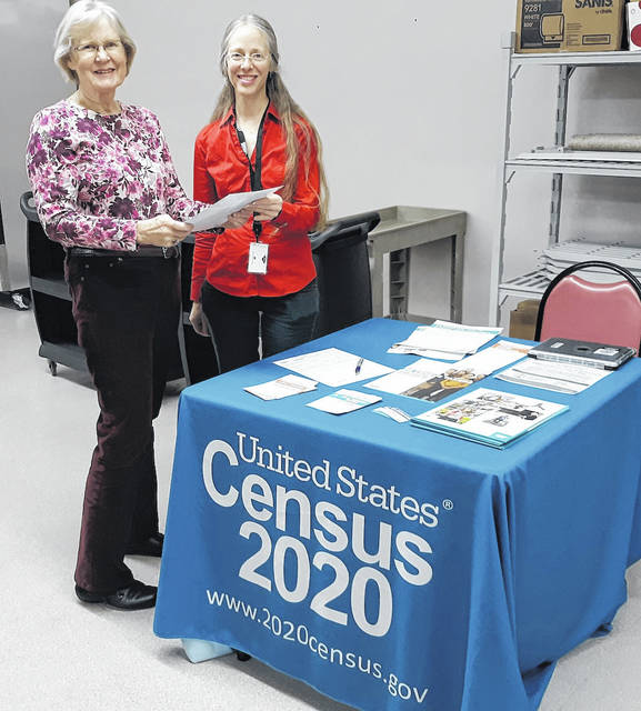 Marie Christiano, president of the Cardington Seniors, with guest speaker Megan Mast, recruiting assistant for the 2020 census, who spoke at the recent meeting.