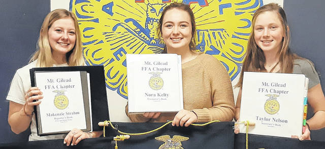 Shown from left, Mount Gilead FFA members Makenzie Strahm, Nora Kelty and Taylor Nelson.