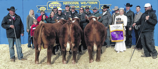 Tom and Nikki Morrison exhibited a member of the Grand Champion Pen of 3 Hereford Bulls at the recent National Western Stock Show in Denver, Colorado. The Morrisons, located in northern Morrow County, have been breeding and raising Herefords for more than 50 years.