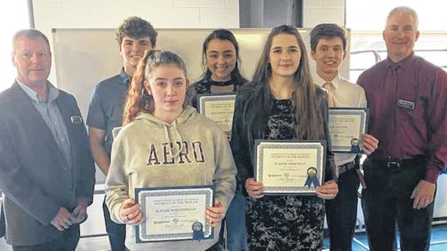 Students of the Month were recognized by the Morrow County Chamber of Commerce at its Feb. 18 luncheon. The program is sponsored by Consolidated Cooperative. Shown are company representatives Brad Ebersole and Phil Caskey, with students Wyatt Reeder, Northmor; Kylie Whitehead, The Tomorrow Center; Elizabeth Albertson, Highland; Naomi Shipman, Gilead Christian and Liam Dennis, Mount Gilead. Absent was Baylee Adams, Cardington.