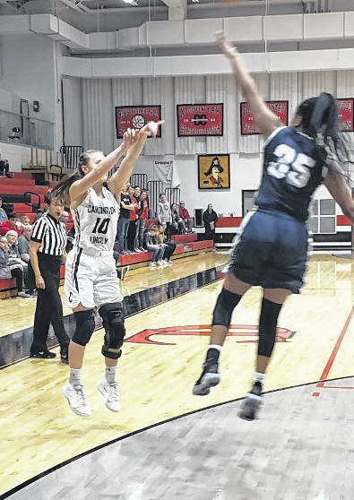 Dana Bertke hit a pair of three-pointers to help her Cardington team advance past Grandview in Saturday night's sectional basketball game.
