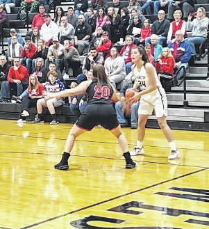 Cardington's Hannah Wickline controls the ball in her team's win over Liberty Union Wednesday night.
