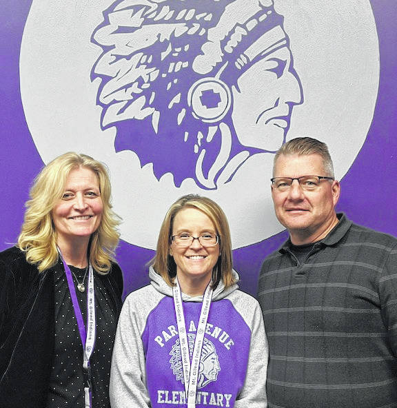 From left: Tab Walls, School Psychologist; Molly Clapper, Special Education Administrator and Park Avenue Principal Chris Kamenski talked about the new elementary reading program.