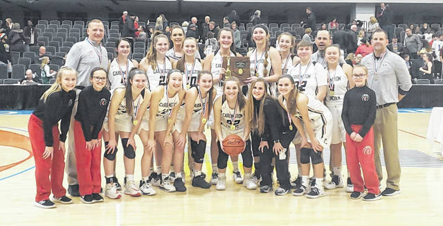 The Cardington girls' basketball team claimed its first district title Friday night at the Columbus Convention Center.