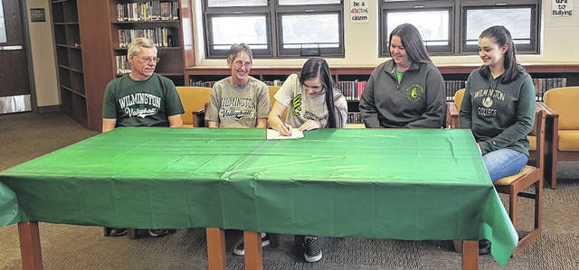 Northmor senior Leslie Brubaker signs to play volleyball for Wilmington College. Pictured are (l-r) grandparents Jerry and Vicki, Brubaker, mother Brigette and sister Taylor.