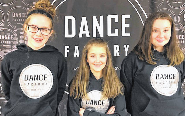 Carly Tolle, Anna Haley, and Brittany Kuchar will be representing The *Dance Factory* as junior trio hip-hop performance on April 25.