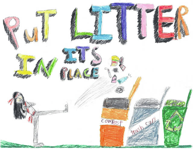 Pictured is the winning poster, hand-drawn and submitted by Evy Ahli a third-grade student at Park Avenue Elementary. She is the winner of the 2020 Put Litter in Its Place Poster Contest April 22 was Earth Day.