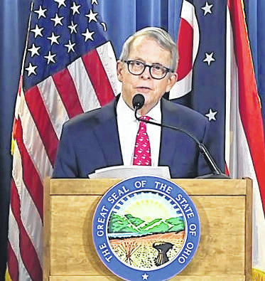 Courtesy Photo Ohio Gov. Mike DeWine at a news conference this spring addressing the coronavirus.