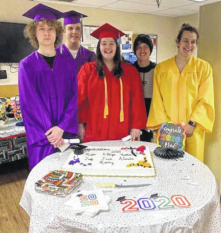 Seven graduates who work at Kroger in Mount Gilead were recognized Friday for graduation from high school or college. Shown, from left, are Ryan Smith, Mount Gilead; Hunter Badlwin, Mount Gilead; Alliza Clark, Highland; Jeff Smith, Highland and Alexis Satorius, Northmor. Absent were Joel Butterman, Mount Gilead; and Rocky Sword, Ohio State University. Graduates enjoyed cake and ice cream and received a gift card from store management.