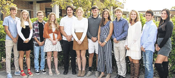 Bryson Keirns, Maggie Brewer, Garrett Barnhart, Olivia Schnuerer, Austin Hammond, Megan Adkins, King Preston Harbolt, Queen Olivia Goodson, Griffin Workman, Lexi Wenger, CJ Stoney, Madison Zeger. Homecoming game was against Danville Sept. 18.