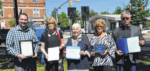 Shown, from left: Jamie Brucker - Mayor of Mount Gilead, Patricia Feustel - Mayor of Edison, Janet Kay Bedwell - Awardee, Pam Eastep – Morrow County Services for Older Citizens Senior Center Director, Warren Davis - Morrow County Commissioner.