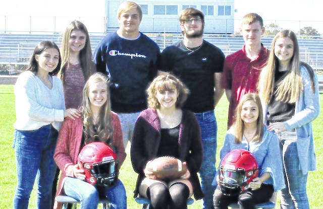 Shown, from left, back row: Jade Delawder, sophomore attendant, Kayleigh Ufferman, junior attendant; Trey Brininger, king candidate; Zach Lester, king candidate; Mason White, king candidate; and Abby Ufferman, freshman attendant. Seated: Queen candidates: Liz Long, Isabelle Crum and Alexis Howard, all seniors.