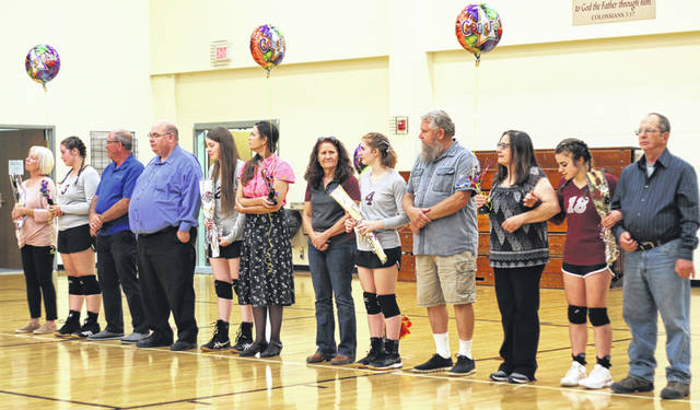 The Gilead Christian volleyball team earned a 25-22, 25-15, 25-23 win on Tuesday. The team also honored its seniors prior to the contest. They are Maria Breker, Hannah Caldwell, Isabel Hertz and Laura Lastoria.