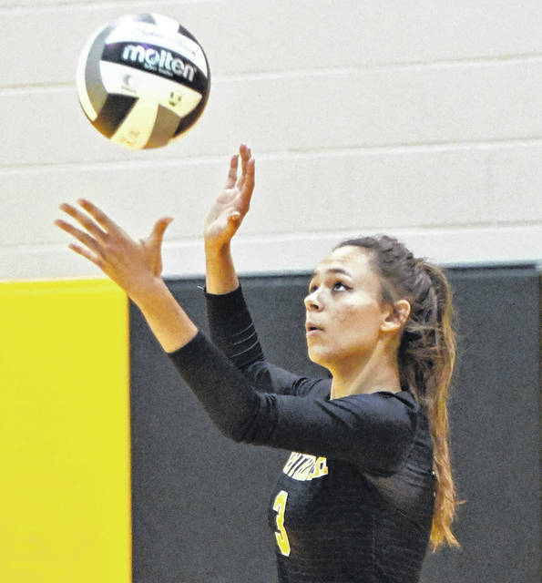 Don Tudor | AIM Media Midwest Northmor's Julianne Kincaid prepares to serve the ball in Tuesday's tournament volleyball match against Fisher Catholic.