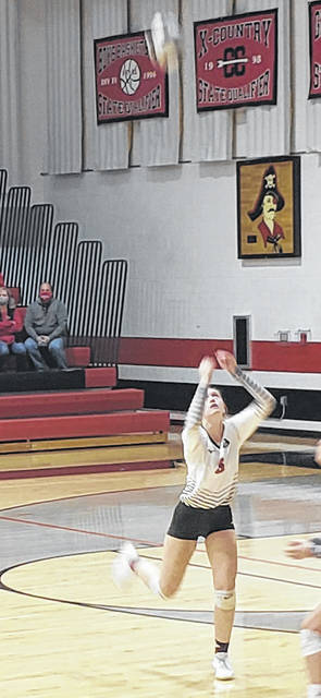 Liz Long, shown returning a KIPP Columbus hit on Tuesday, finished with 24 aces in Cardington's Division III sectional contest against the Jaguars.