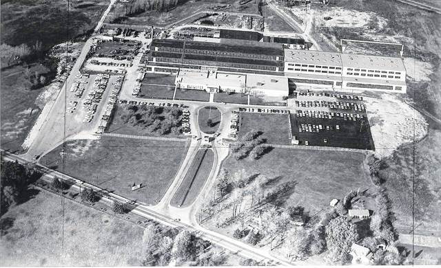An aerial photo of the HPM plant in 1960.