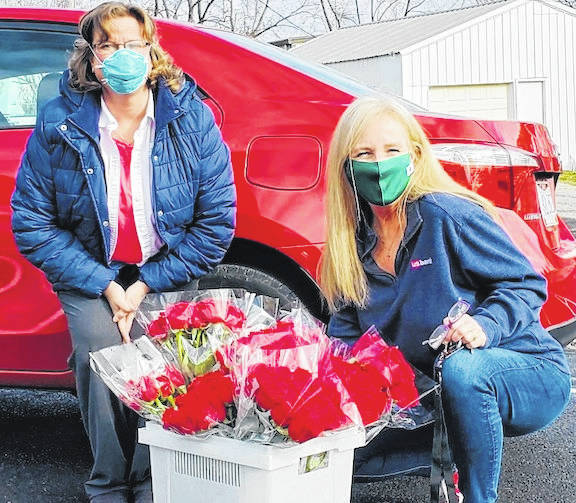 Erin Kelty of the Mount Gilead Kiwanis Club delivered 12 dozen roses to Melissa at Bennington Glen. Those were donated and the club sold 148 dozen total as a fund raising project. Kelty said the staff and residents at Bennington Glen loved receiving the roses.