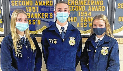 Cardington FFA Job Interview competitors, from left: Brooke Clapham, Michael Rose and Alexis Peters.