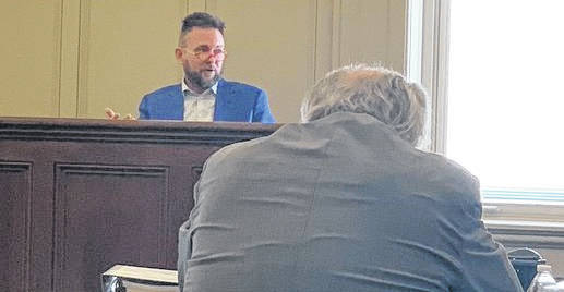Renergy CFO Mike Oberfield took the stand for nearly an hour Tuesday morning in Common Pleas Court as the bench trial involving the company's zoning. Prosecutor Charles Howland cross-examines Oberfield.