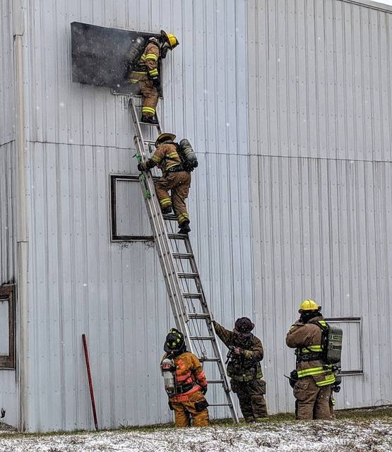 """Village Fire Department Chief Chad Swank called Mount Gilead's North Central Ohio Fire Training Academy a """"hidden gem"""" in the village. Students undergo training and work a live burn site exercise last weekend. PHOTOS BY ALBERTA STOJKOVIC"""