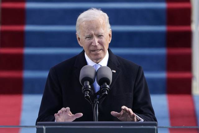 President Joe Biden speaks during the 59th Presidential Inauguration on Wednesday, Jan. 20, 2021 at the U.S. Capitol in Washington.