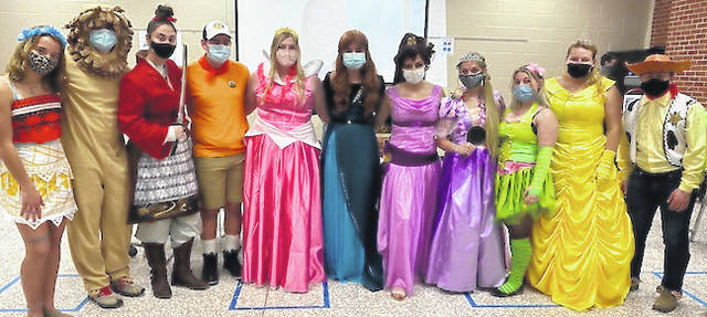 Cardington FFA members dressed in their costumes for the Disney-themed member night event are from left: Meghan Greenwalt, Colin McAvoy, Cameron Kinsey, Bryce Moodispaugh, Camrie Meyers, Erin Wollett, FFA advisor, Izzy Crum, Crooke Clapham, Lexy Brook-Hobbs, Tess Ruehrmund and Joe Denney.