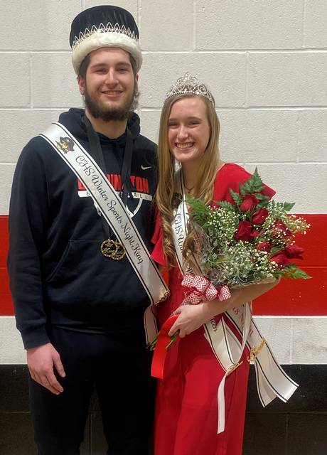 Liz Long and Zach Lester, Cardington-Lincoln High School Winter Sports Night King and Queen 2021.