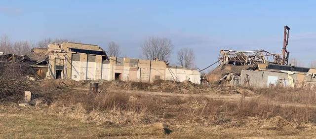 The former Hydraulic Press Manufacturing Company plant in Mount Gilead is nearly gone as seen by this photo taken Monday afternoon, March 8. Demolition of the historic HPM plant began Dec. 22, 2020. The HPM plastics and die-casting equipment operation closed in 2010, bringing an end to a century-plus of machinery manufacturing in the village.