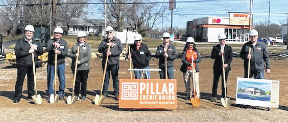 Pillar Credit Union broke ground on Friday, March 12, for their first branch here.