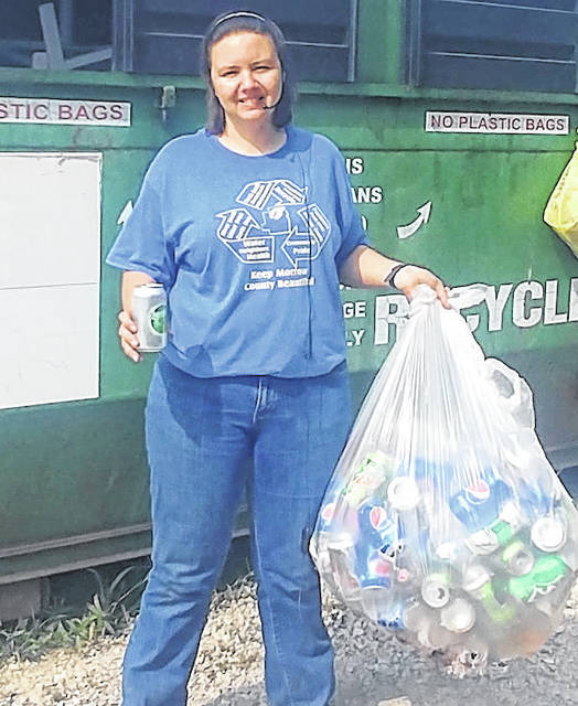 Lindsey Grimm promoting recycling in Morrow County.